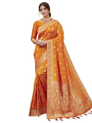 Orange woven poly silk saree with blouse