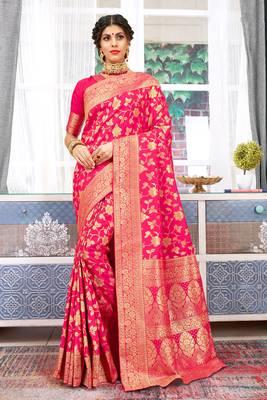 Pink Banarasi Silk Woven Work Traditional Saree