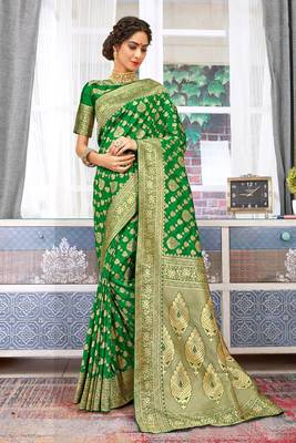 Green Banarasi Silk Woven Work Traditional Saree