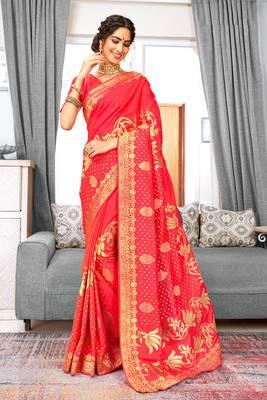 Peach Banarasi Silk Woven Work Traditional Saree