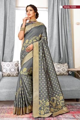 Grey Banarasi Silk Woven Work Traditional Saree