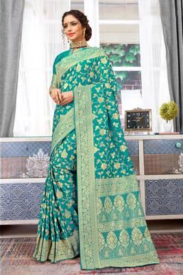 Turquoise Banarasi Silk Woven Work Traditional Saree