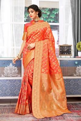 Orange Banarasi Silk Woven Work Traditional Saree