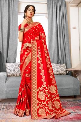 Red Banarasi Silk Woven Work Traditional Saree