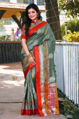 Grey Handloom Silk Woven Work Traditional Saree