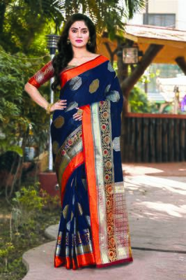 Navy Blue Handloom Silk Woven Work Traditional Saree