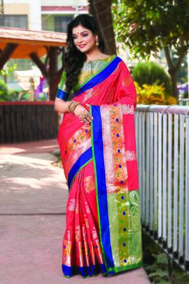 Pink Handloom Silk Woven Work Traditional Saree