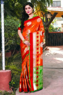Orange Handloom Silk Woven Work Traditional Saree