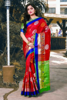 Red Handloom Silk Woven Work Traditional Saree