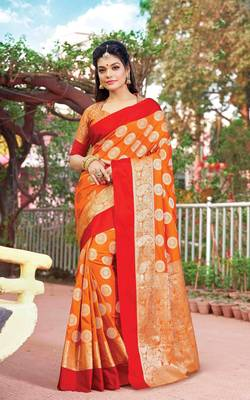 Orange Silk Jacquard Traditional Saree