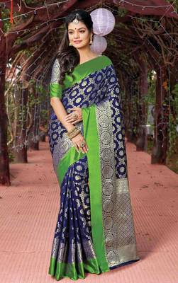 Navy Blue Silk Jacquard Traditional Saree