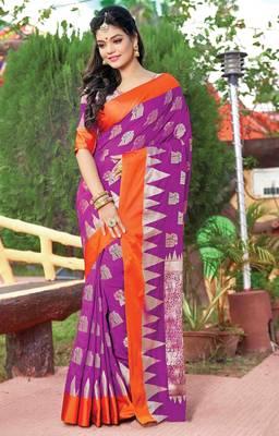 Purple Silk Jacquard Traditional Saree