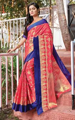 Pink Silk Jacquard Traditional Saree