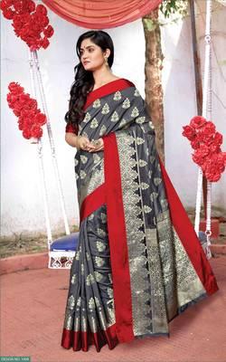 Grey Silk Jacquard Traditional Saree