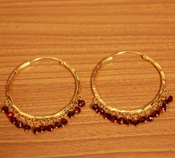 Maroon swarovski crystal hoops