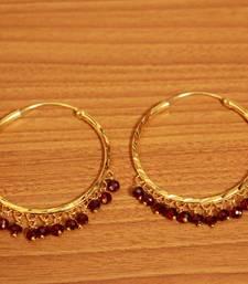 Maroon Gold Look Crystal Hoops