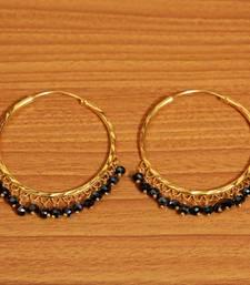 Black Crystal Gold Look Big Hoops