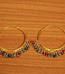 Multicolour Gold Look Crystal Hoops
