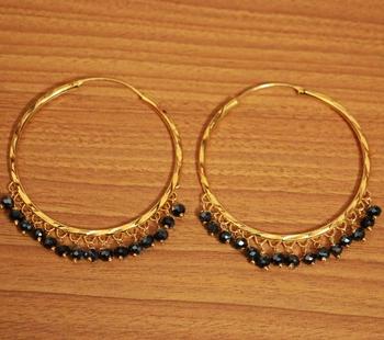 Black Crystal Gold Look Hoops