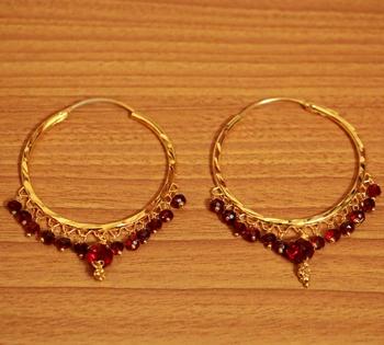Maroon Crystal Gold Look Hoops