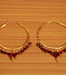 Maroon Crystal Gold Look Hoops