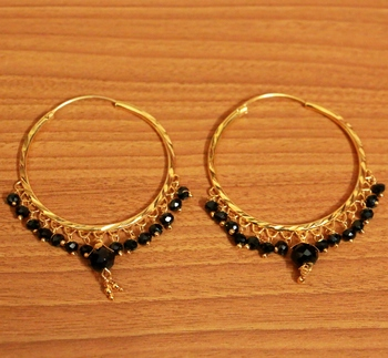 Black Crystal Drop Gold Look Hoops