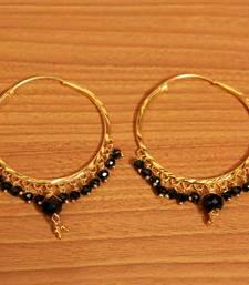 Black Crystal Drop Gold Look Hoops