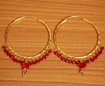 Red swarovski crystal hoops