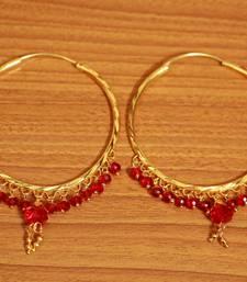 Red Crystal Drop Gold Look Hoops