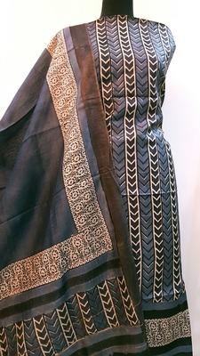 Gray Tassar Silk Handloom Unstitched Suit Fabric