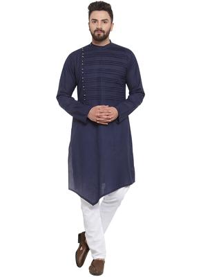 Treemoda Navy Blue Linen Kurta With Aligarh For Men
