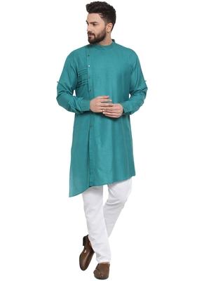 Treemoda Green Linen Kurta With Aligarh Pajama For Men