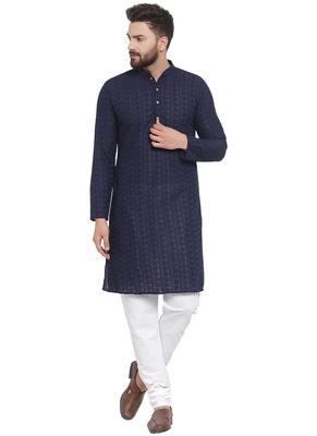 Designer Navy Blue Cotton Kurta Pajama For Men