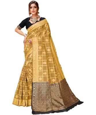 beige woven banarasi saree with blouse