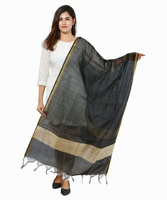 Black Banjara India Banarasi Solid Cotton Silk Dupatta