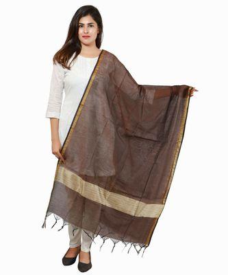 Coffee Banjara India Banarasi Solid Cotton Silk Dupatta