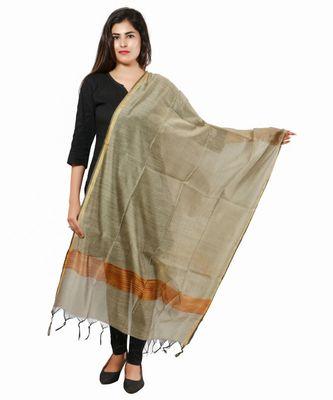 Copper Banjara India Banarasi Solid Cotton Silk Dupatta