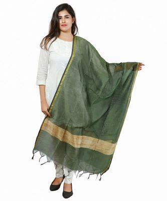 Green Banjara India Banarasi Solid Cotton Silk Dupatta
