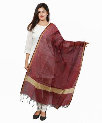 Maroon Banjara India Banarasi Solid Cotton Silk Dupatta