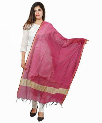 pink Banjara India Banarasi Solid Cotton Silk Dupatta