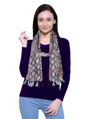 brown printed Polyester scarf
