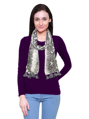 cream printed Polyester scarf