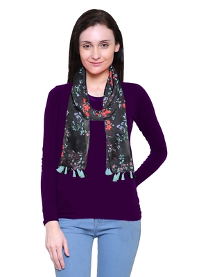 blue printed Polyester scarf