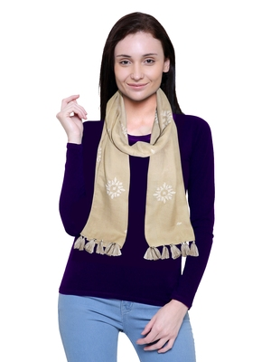 beige printed Polyester scarf