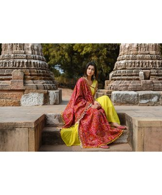 Red Tribal Motif Aari Embroidered Khadi Shawl/Dupatta With Lemon Cotton Lace