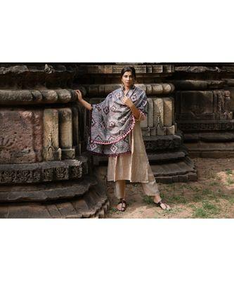 Grey Tribal Star MotifsAari Embrodiered Slub Khadi Shawl/Dupatta With Baby Ping Cotton Lace