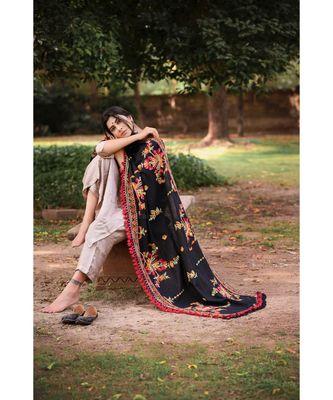 Black Kashmiri Motif Aari Embroidered Khadi Shawl/Dupatta With Crimson Red Cotton Tassel