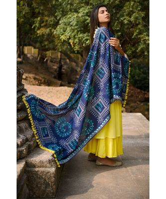 Navy Blue Warli Tribal Motif Aari Embroidered Khadi Shawl/Dupatta With Kaccha Tassel Lace