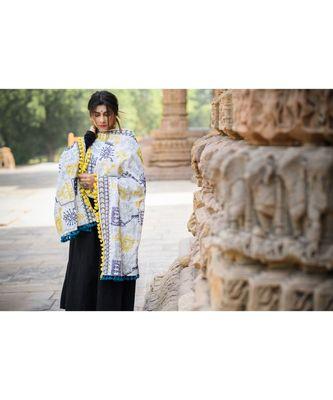 White Tribal Motif Aari Embroidered Khadi Shawl/Dupatta With Lemon Tassel Lace