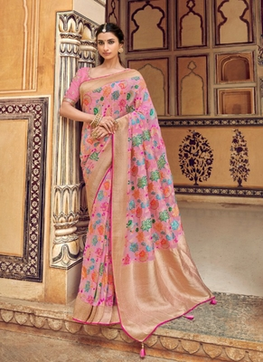 light pink woven silk saree with blouse
